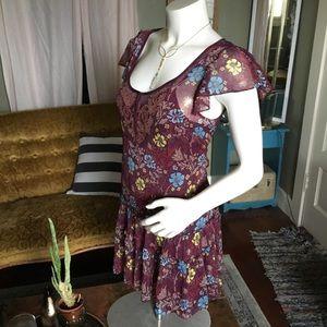 Free People Purple Flutter Dress